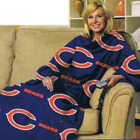 NFL Football Chicago Bears Comfy Throw ~ Blanket with Sleeves - Large Unisex Adult Size