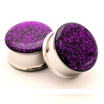 ac ICIKO2Q 1 pair plugs stainless steel purple glitter double flare ear plug gauges tunnel body piercing jewelry PSP0026