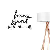 Free Spirit Wall Decal, Boho Sticker, Typography Wall Sticker, Arrow Decal, Boho Desert, Typography Decal, Hippie Wall Decal, Office Decor