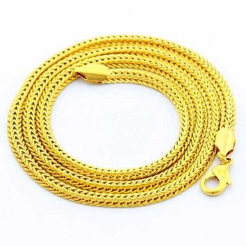 24K GP Gold Plated Necklace Mens Women Yellow Gold Golden Jewelry Necklace YHDN 56 MP