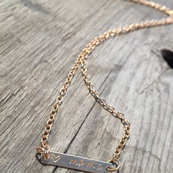 Love Mama - Engraved Gold Bar Necklace