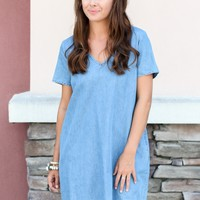 Chambray Pom Pom Dress