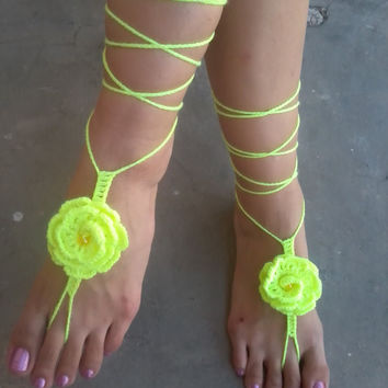 BAREFOOT SANDALS , Crochet  Hot Yellow Flower, Beats, Chic Nude Summer Shoes, Foot Jewelry, Beach