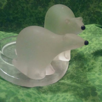 Partylite Polar Bear Hand-blown Clear Frosted Glass Votive Candle Holder