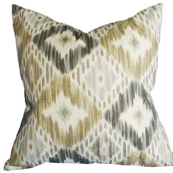 Ikat  Decorative Pillow Covers  Gray Taupe Tan by PillowThrowDecor