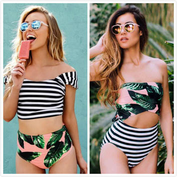 Women New Leaf Printed Green Sexy Swimwear