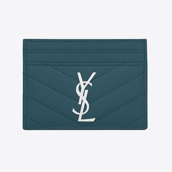 YSL Teal Card Wallet by Saint Laurent