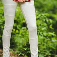 Knees Please Leggings - White