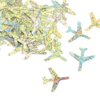 Airplane Confetti - Graduation Party - Travel Theme Decor -  Atlas Map Punches - 100 pieces