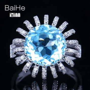 BAIHE Sterling Silver 925 7.4CT Certified Sky Blue Flawless Round cut Genuine Blue Topaz Wedding Women Trendy Fine Jewelry Ring