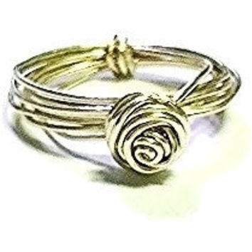 PICK YOUR SIZE Sterling Silver Wire Wrapped Rose Ring Wire Wrapped Ring Sterling Silver Ring Rose Jewelry Flower Ring Flower Jewelry Gift