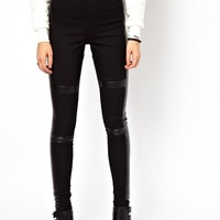 ASOS Leather Look Panelled Denim Jegging