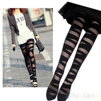 Women Sexy Pantyhose Black Ripped Stretch Vintage Tights  Mock Stockings