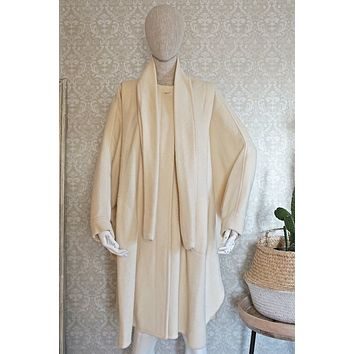 Vintage 1980s Ivory Wool + Cocoon Cape Coat
