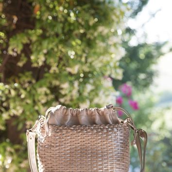 Mina-Handmade Woven Leather Petite Bucket Handbag