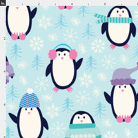 Cute Penguins Fabric by the Yard Winter Snow Holiday Christmas Organic Cotton Knit Minky Jersey Fleece 6968467