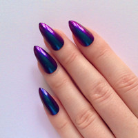 Cyan & Purple Chrome Stiletto nails, Nail designs, Nail art, Nails, Stiletto nails, Acrylic nails, Pointy nails, Fake nails