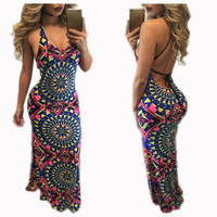 Indian Mandala Print Halter Maxi Dress 22147
