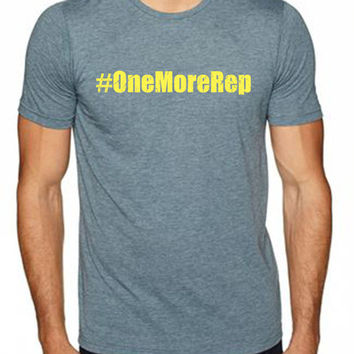 #OneMoreRep men's workout t-shirts from Spin Off Apparel