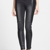 THIS CITY Quilted Faux Leather Panel High Waist Skinny Jeans (Black) (Juniors) (Online Only)