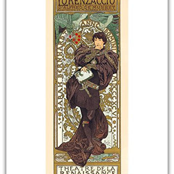 "Lorenzaccio - Theatre (Theater) de la Renaissance, Paris, Art Nouveau - La Belle Époque- ""Les Maitres de l'Affiche""- Art Deco- Vintage French Advertising Poster by Alphonse Mucha - Master Art Print - 9in x 12in"