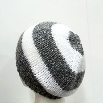 Knitted beanie gray and white large stripe mens hat or womens hat 5242