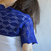 Cobalt Lace Shrug Hand Knitted Lace Bolero Cocktail Dress Shrug Gift under 40 Camel and Merino READY TO SHIP