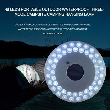 DCCK7N3 OUTAD 48 LED Portable Outdoor Camping Light UFO Tent Lamp Waterproof Night Hiking Lantern with Hanger Power By 4*AA Battery