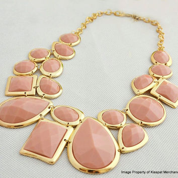 Nude Pink Statement Necklace, Monet Inspired Bib Necklace, Bridesmaids Gifts, Wedding Gift, Chunky Necklace Jewelry