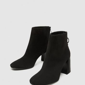 LEATHER ANKLE BOOTS WITH BLOCK HEELS DETAILS