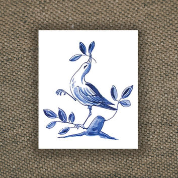 Temporary tattoo vintage 'Delfts Blauw' bird