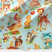 Vintage Baby Animals Fabric - Vintage Baby Animals Story Book By Parisbebe - Baby Children Kitsch Cotton Fabric By The Yard With Spoonflower
