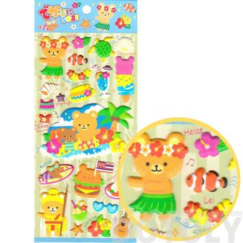 Hawaiian Teddy Bears Tropical Flowers Surf Cute Puffy Stickers for Scrapbooking