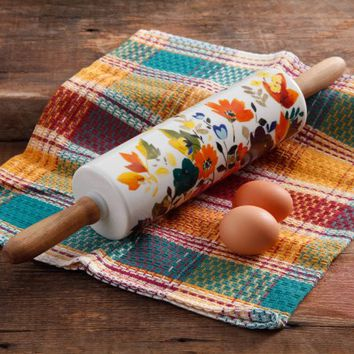 The Pioneer Woman Fall Flowers Rolling Pin - Walmart.com