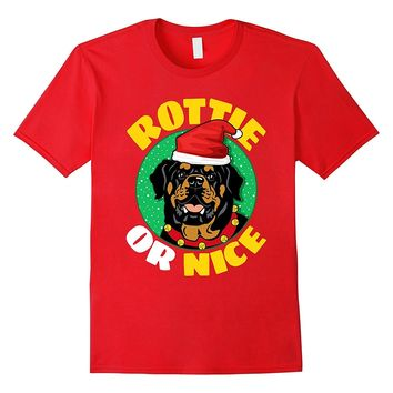 Rottweiler Christmas Cute T-Shirt Gifts -- Rottie Or Nice