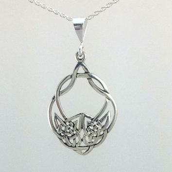 Celtic Wolf Necklace~Sterling Silver Wolf Pendant~Celtic Wolf Tribal Necklace~Sterling Silver Celtic Knot Charm~Wolf Charm Pendant