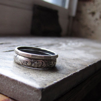 Unique Earthy Sterling Wedding Rings