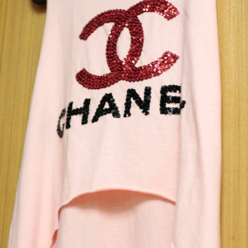 COCO CHANEL T Shirts tank top handmade crystal seed beads sequins sew fix