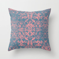 Psychedelic Coral Barrier Reef Pattern Jellyfish Octopus by Pepe Psyche Throw Pillow by Pepe Psyche