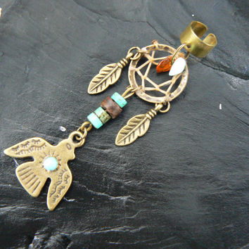 tribal thunderbird dreamcatcher ear cuff turquoise amber in belly dancer native american inspired gypsy hippie boho and hipster style