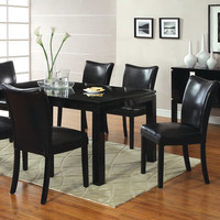 A.M.B. Furniture & Design :: Dining room furniture :: Small Dinette Sets :: Black finish sets :: 7 Pc. Lamia I Contemporary Style High gloss black wood finish Dining Set with black leather like vinyl upholstered chairs