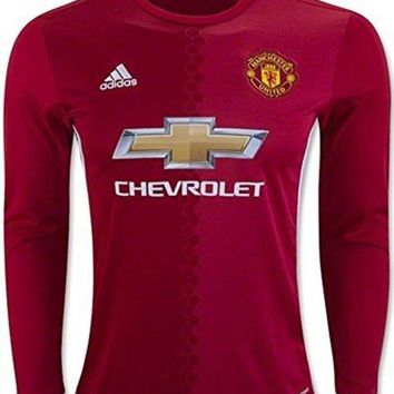 adidas Mens Manchester United Long Sleeve Home Soccer Jersey (Red)