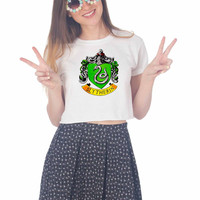 SLYTHERIN CREST For Womens Crop Shirt **