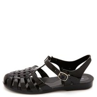 Bamboo Classic Jelly Sandals by Charlotte Russe - Black