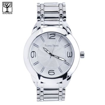 Jewelry Kay style Men's Fashion Techno Pave Hip Hop Silver Toned Metal Band Watch WM 1344 S