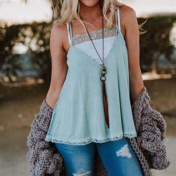 Sweet Talker Lace Cami - Mint