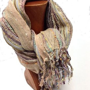 Tickled Pink Glitter Fringe Scarf