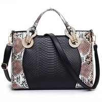 Python Snake Skin Handbag  - Serpentine Leather Tote
