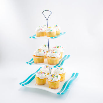 Cupcake Display, 3 Tier Cake Stand, Tiered Serving Tray, Turquoise and White, Fused Glass, Square Plates, Modern Design, Tea Party Decor
