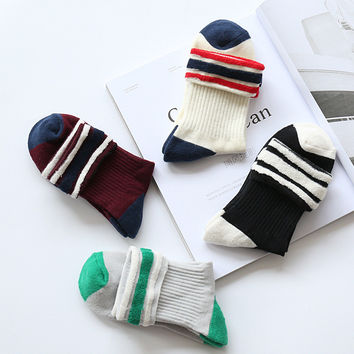 Sports On Sale Hot Deal Socks Korean Cotton Baseball [8189235270]